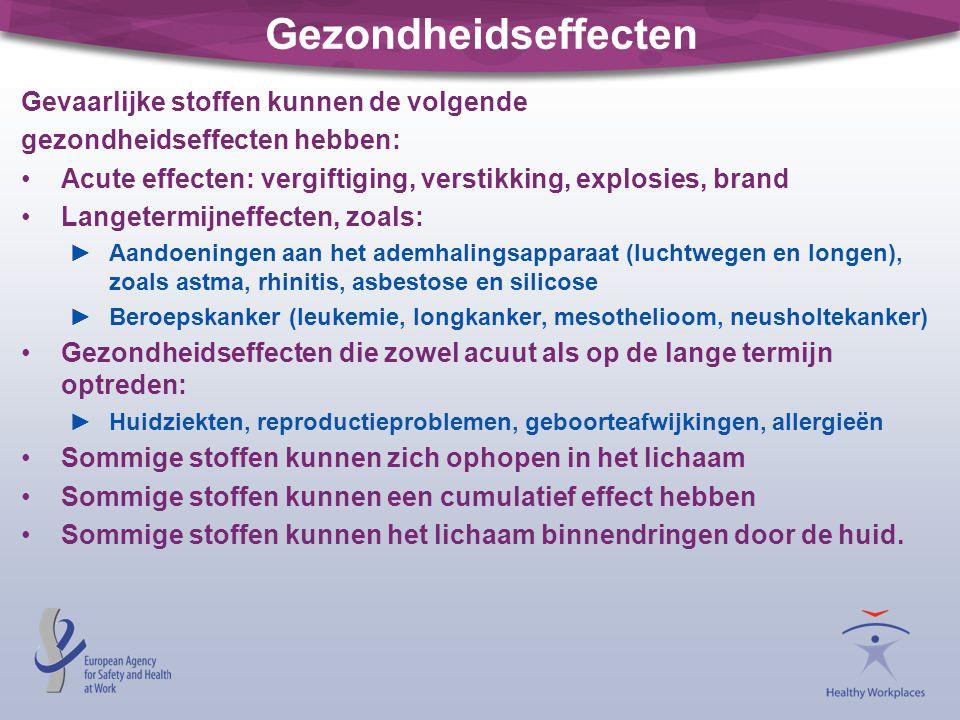 Gezondheidseffecten Gevaarlijke stoffen kunnen de volgende