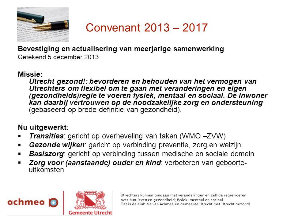 Convenant 2013 – 2017 Bevestiging en actualisering van meerjarige samenwerking. Getekend 5 december 2013.