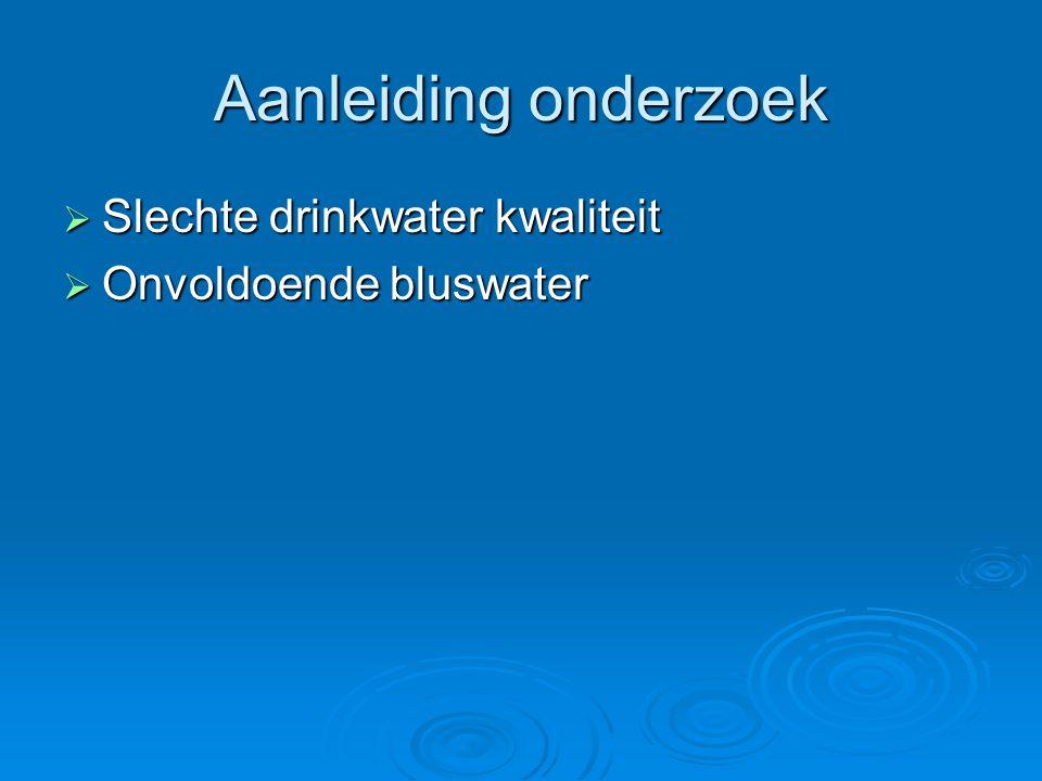 Aanleiding onderzoek Slechte drinkwater kwaliteit