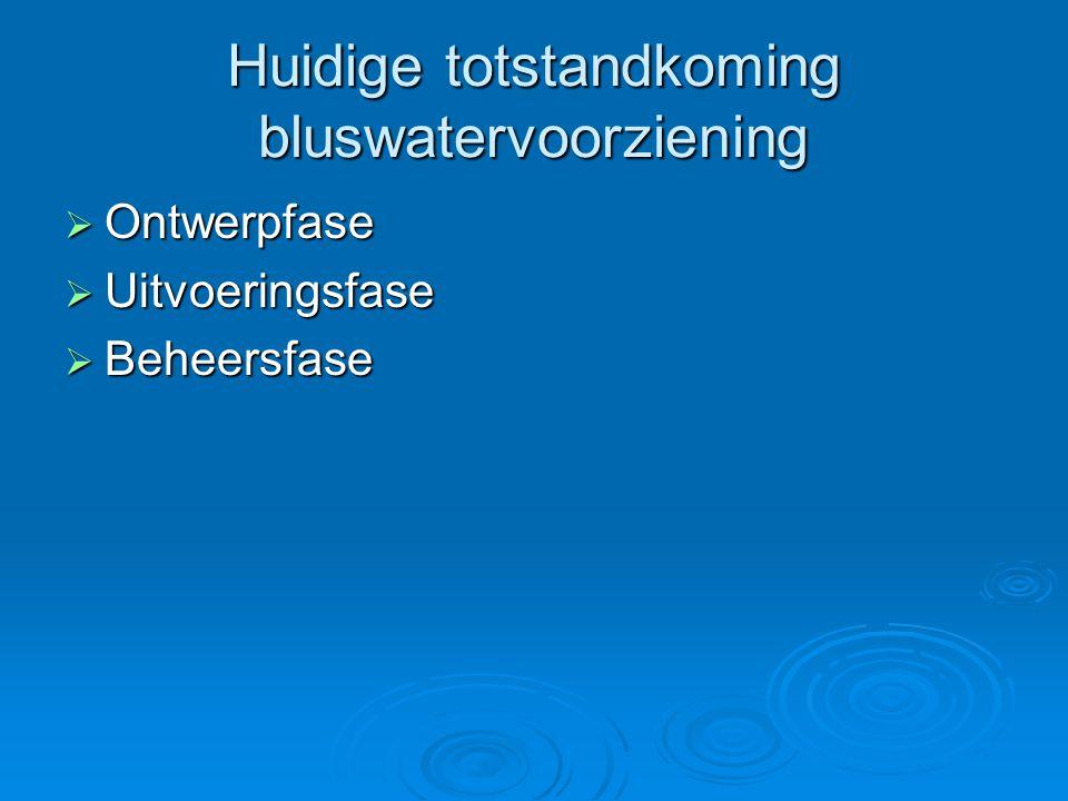 Huidige totstandkoming bluswatervoorziening