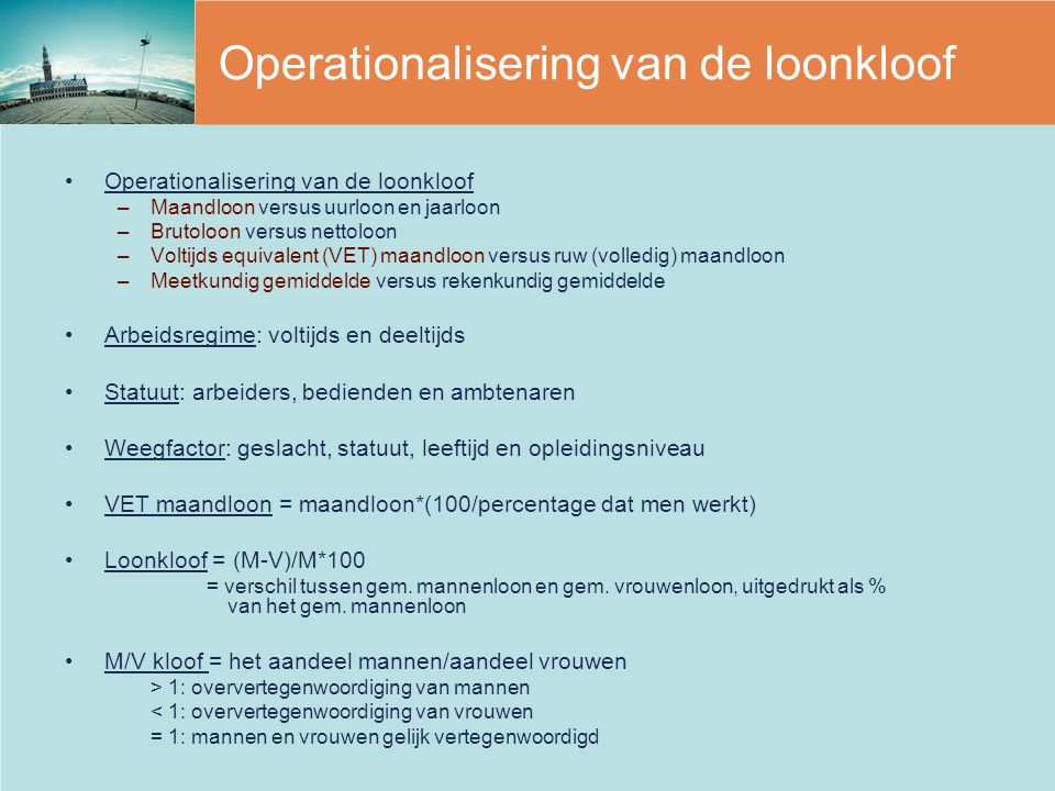 Operationalisering van de loonkloof