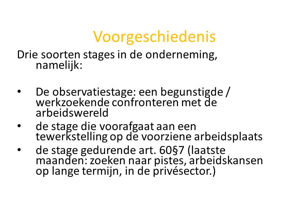 Voorgeschiedenis Drie soorten stages in de onderneming, namelijk: