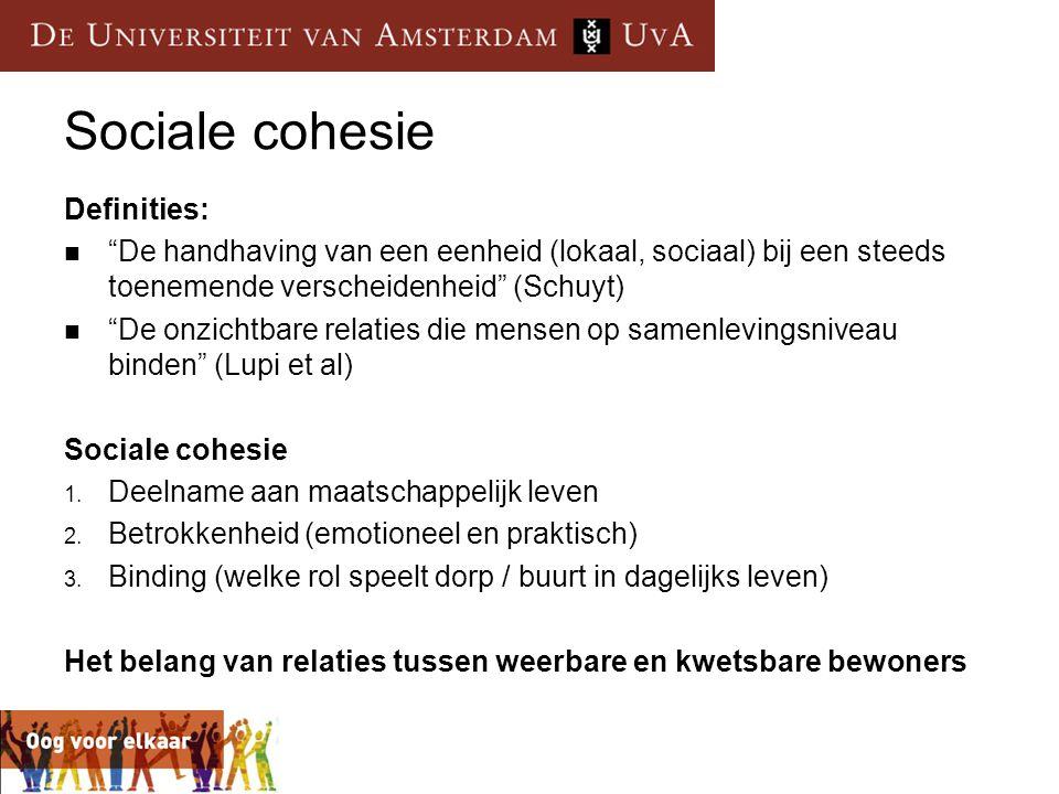 Sociale cohesie Definities: