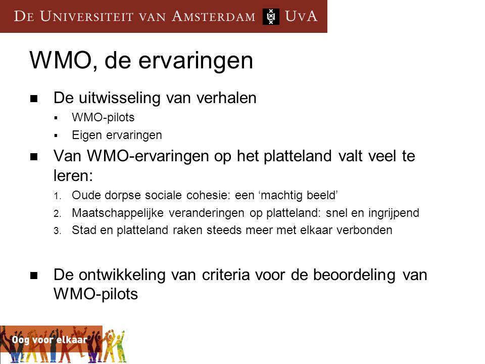WMO, de ervaringen De uitwisseling van verhalen
