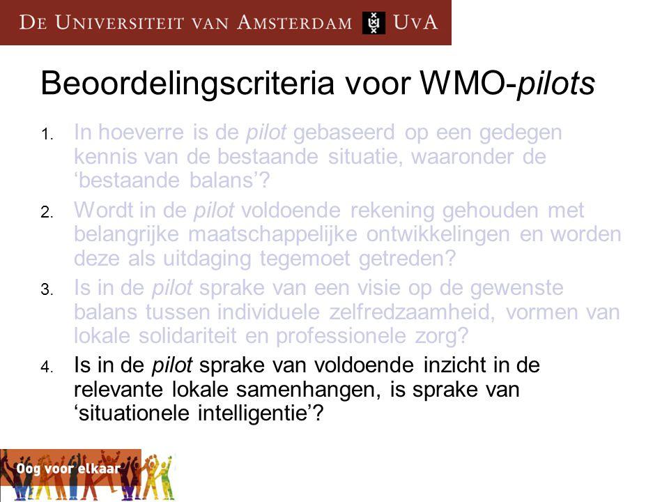 Beoordelingscriteria voor WMO-pilots