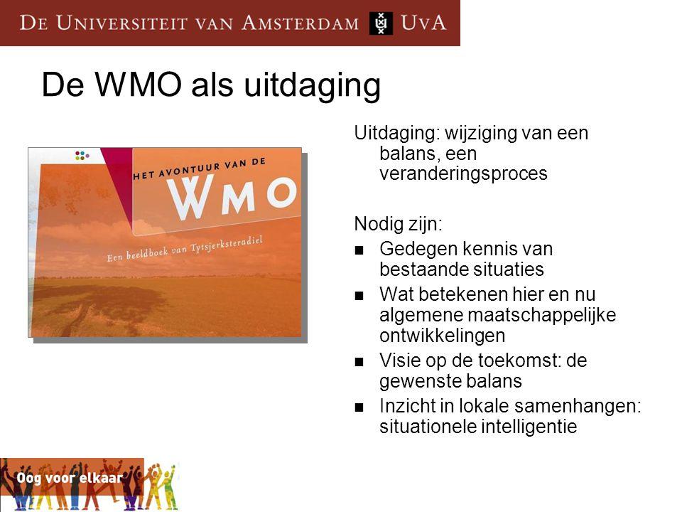 De WMO als uitdaging Uitdaging: wijziging van een balans, een veranderingsproces. Nodig zijn: Gedegen kennis van bestaande situaties.