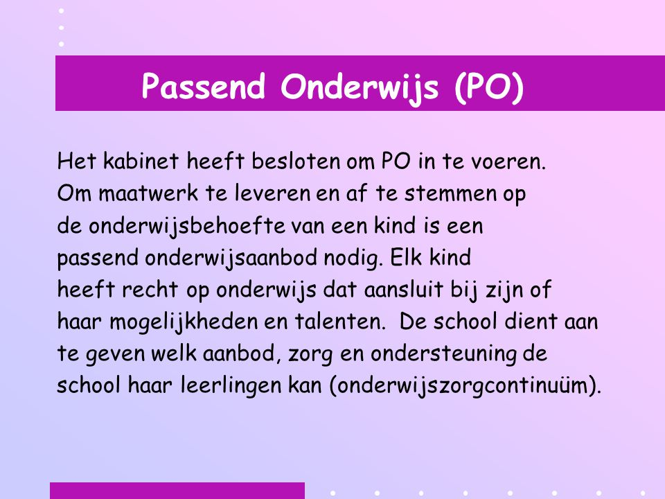 Passend Onderwijs (PO)