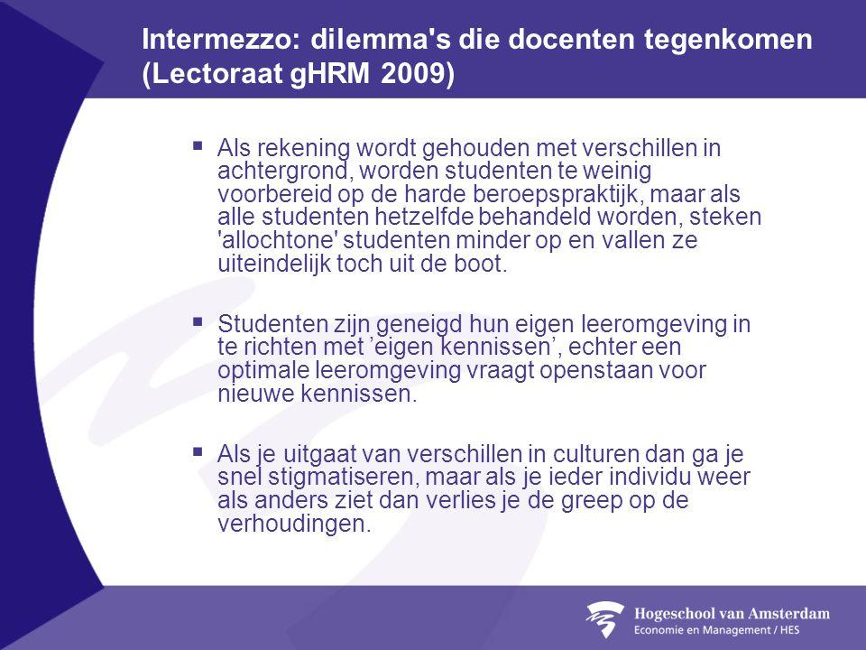 Intermezzo: dilemma s die docenten tegenkomen (Lectoraat gHRM 2009)