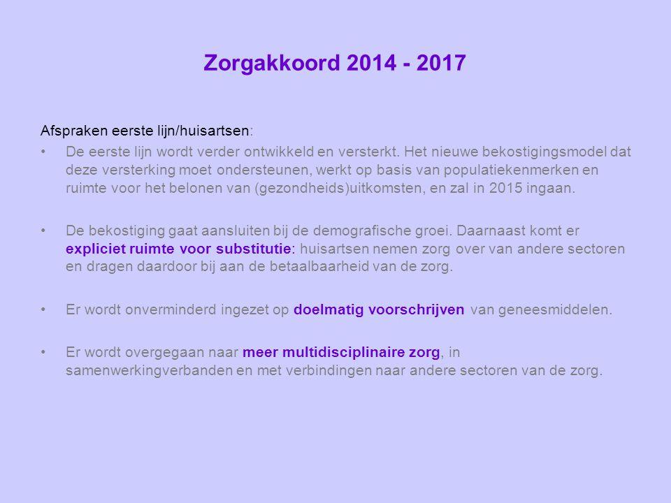 Zorgakkoord 2014 - 2017 Afspraken eerste lijn/huisartsen: