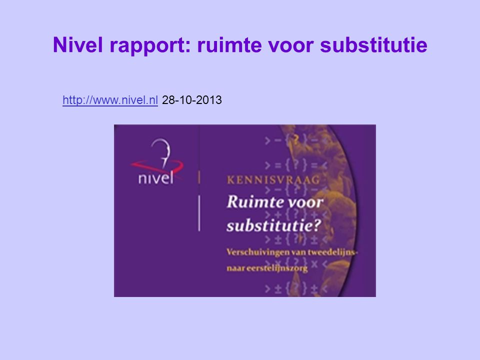 Nivel rapport: ruimte voor substitutie
