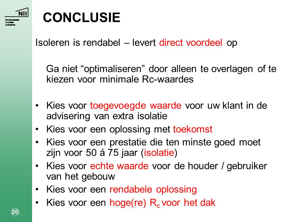 CONCLUSIE Isoleren is rendabel – levert direct voordeel op
