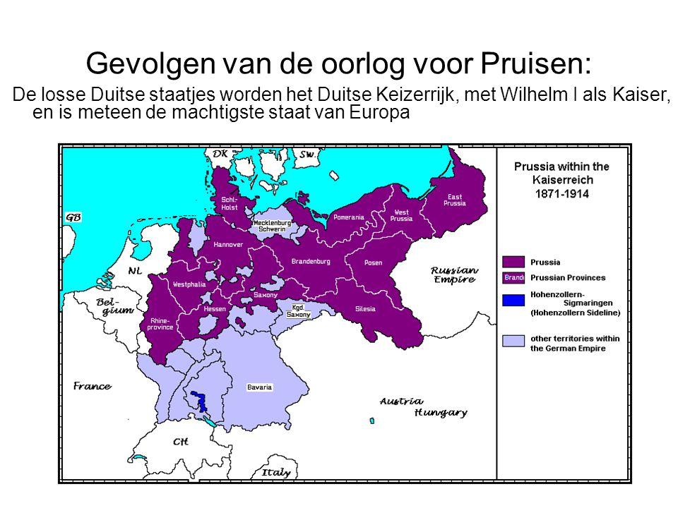Gevolgen van de oorlog voor Pruisen: