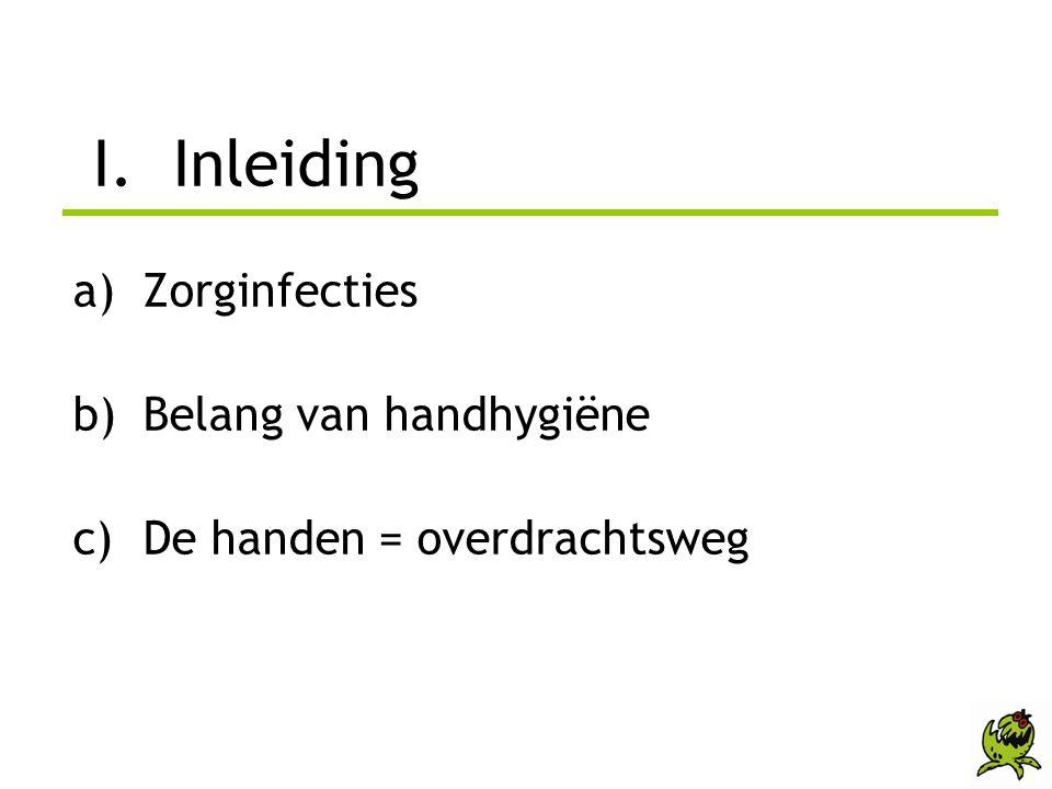 I. Inleiding Zorginfecties Belang van handhygiëne