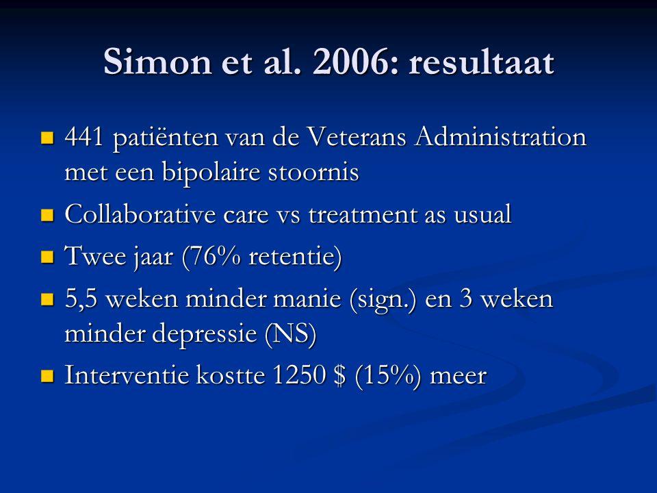 Simon et al. 2006: resultaat 441 patiënten van de Veterans Administration met een bipolaire stoornis.
