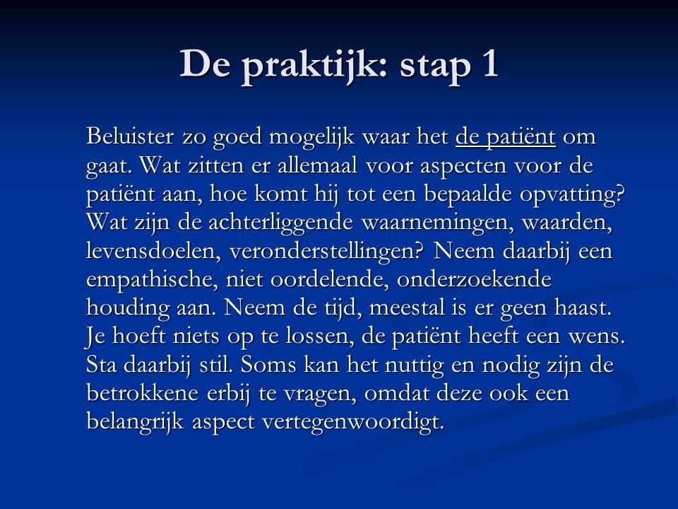 De praktijk: stap 1