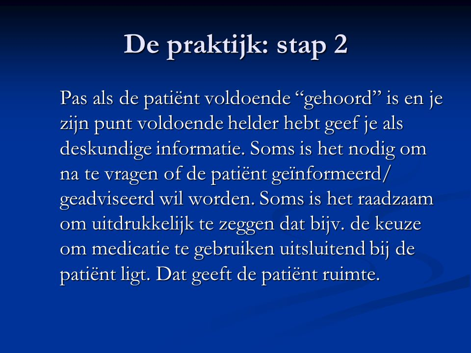 De praktijk: stap 2