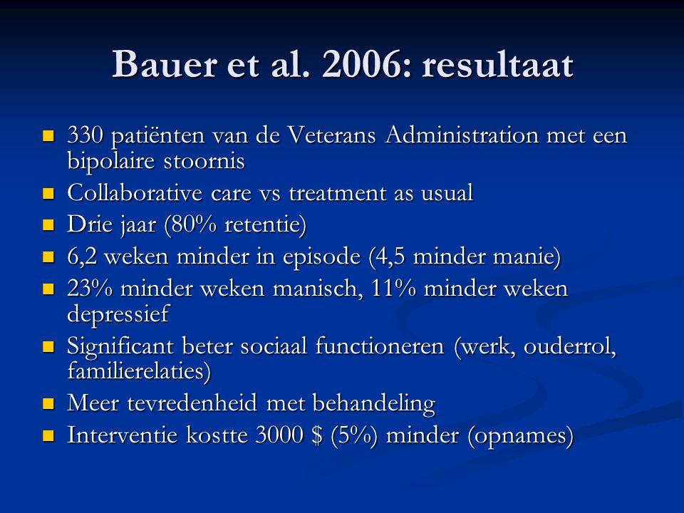Bauer et al. 2006: resultaat 330 patiënten van de Veterans Administration met een bipolaire stoornis.
