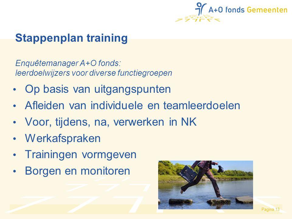 Stappenplan training Enquêtemanager A+O fonds: leerdoelwijzers voor diverse functiegroepen