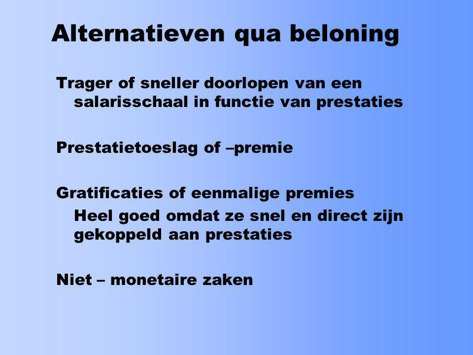 Alternatieven qua beloning
