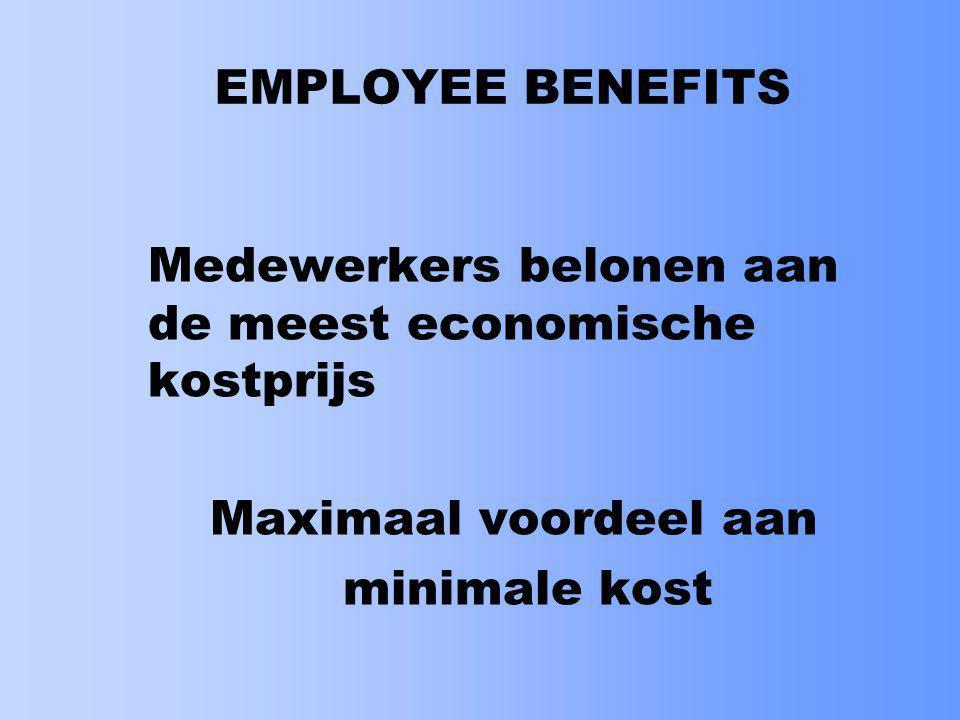 EMPLOYEE BENEFITS Medewerkers belonen aan de meest economische kostprijs.