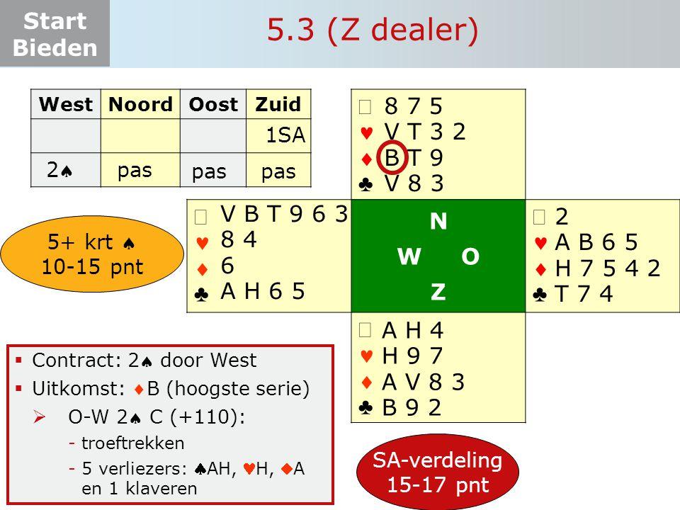 5.3 (Z dealer) ª   ♣ N W O Z ª 8 7 5 V T 3 2 B T 9 V 8 3