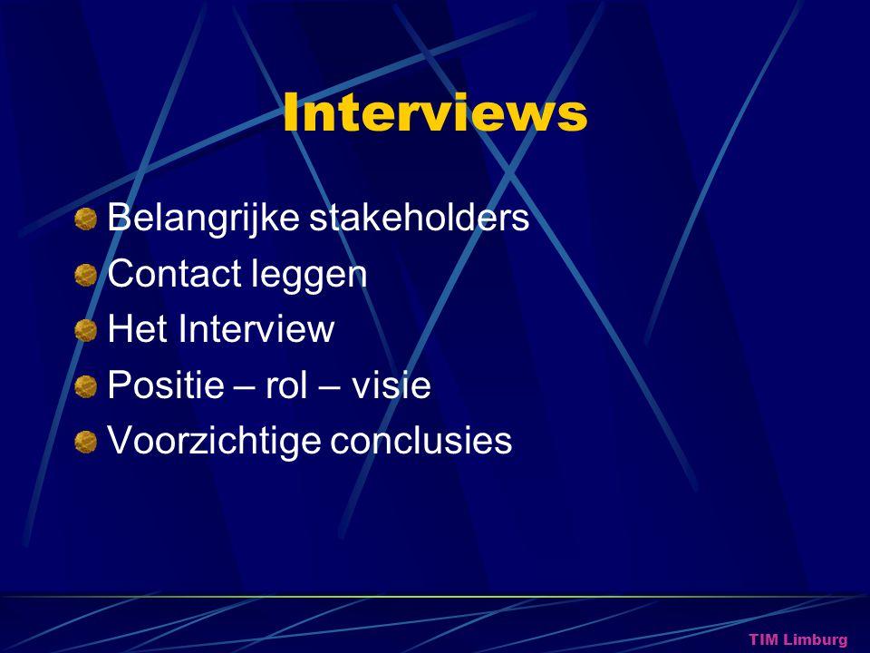 Interviews Belangrijke stakeholders Contact leggen Het Interview