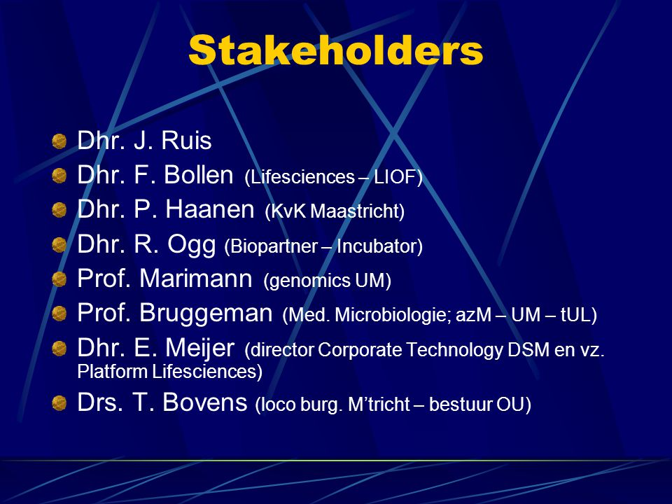 Stakeholders Dhr. J. Ruis Dhr. F. Bollen (Lifesciences – LIOF)