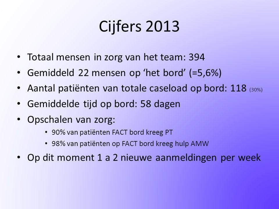 Cijfers 2013 Totaal mensen in zorg van het team: 394
