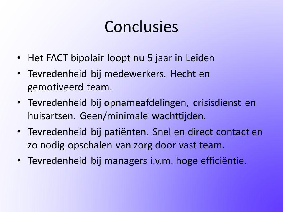 Conclusies Het FACT bipolair loopt nu 5 jaar in Leiden