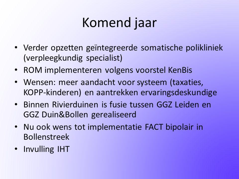 Komend jaar Verder opzetten geïntegreerde somatische polikliniek (verpleegkundig specialist) ROM implementeren volgens voorstel KenBis.