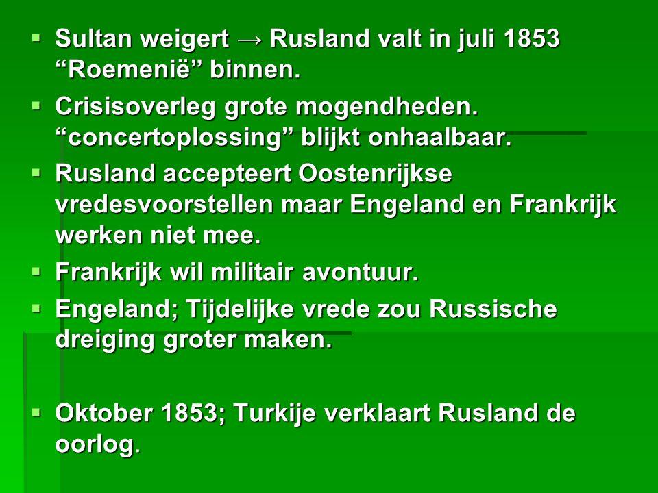 Sultan weigert → Rusland valt in juli 1853 Roemenië binnen.