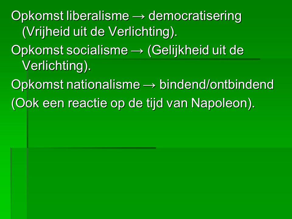 Opkomst liberalisme → democratisering (Vrijheid uit de Verlichting).