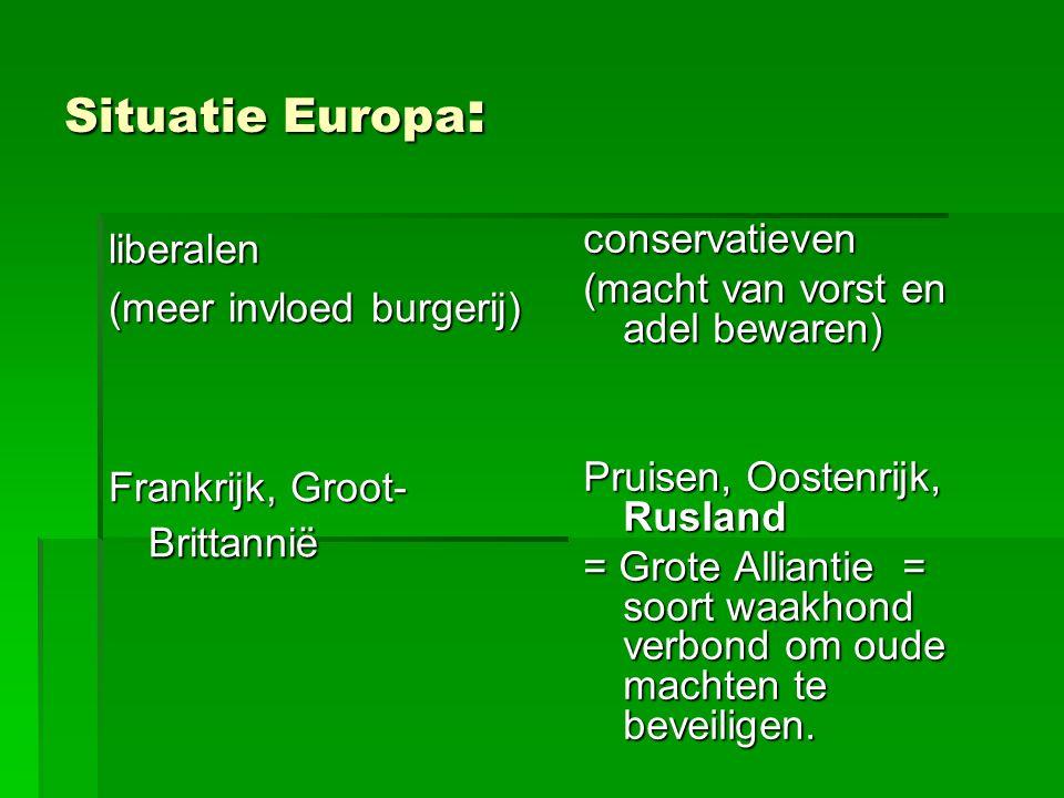 Situatie Europa: liberalen conservatieven (meer invloed burgerij)