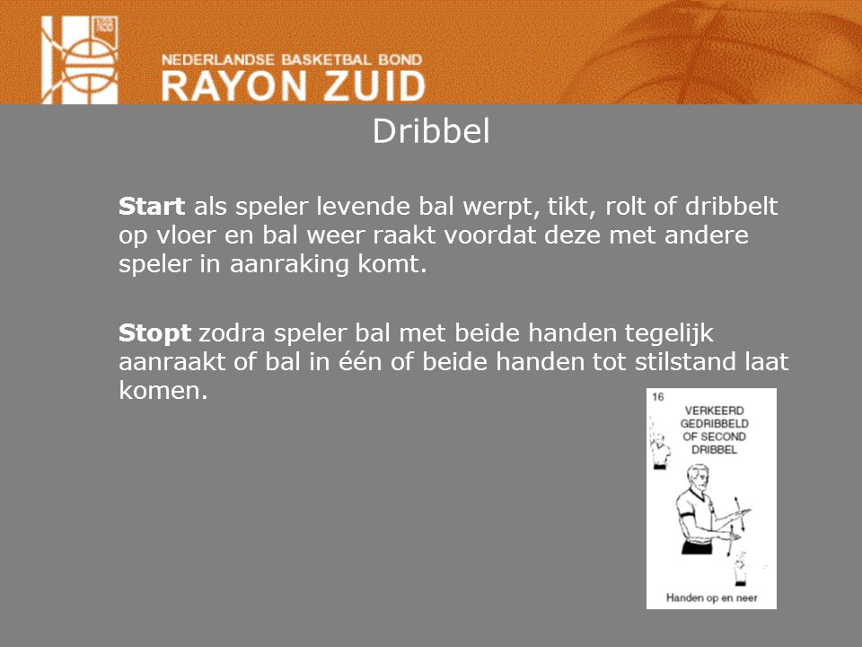 Dribbel Start als speler levende bal werpt, tikt, rolt of dribbelt op vloer en bal weer raakt voordat deze met andere speler in aanraking komt.