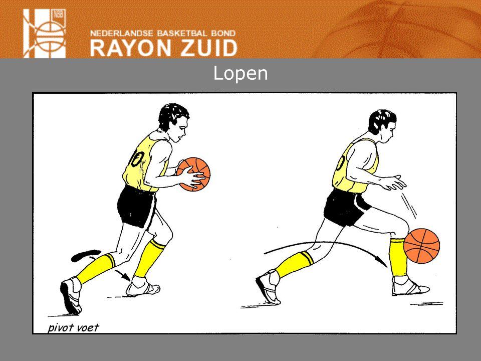Lopen Speler vangt bal in beweging (of dribbel) tot stilstand komen: