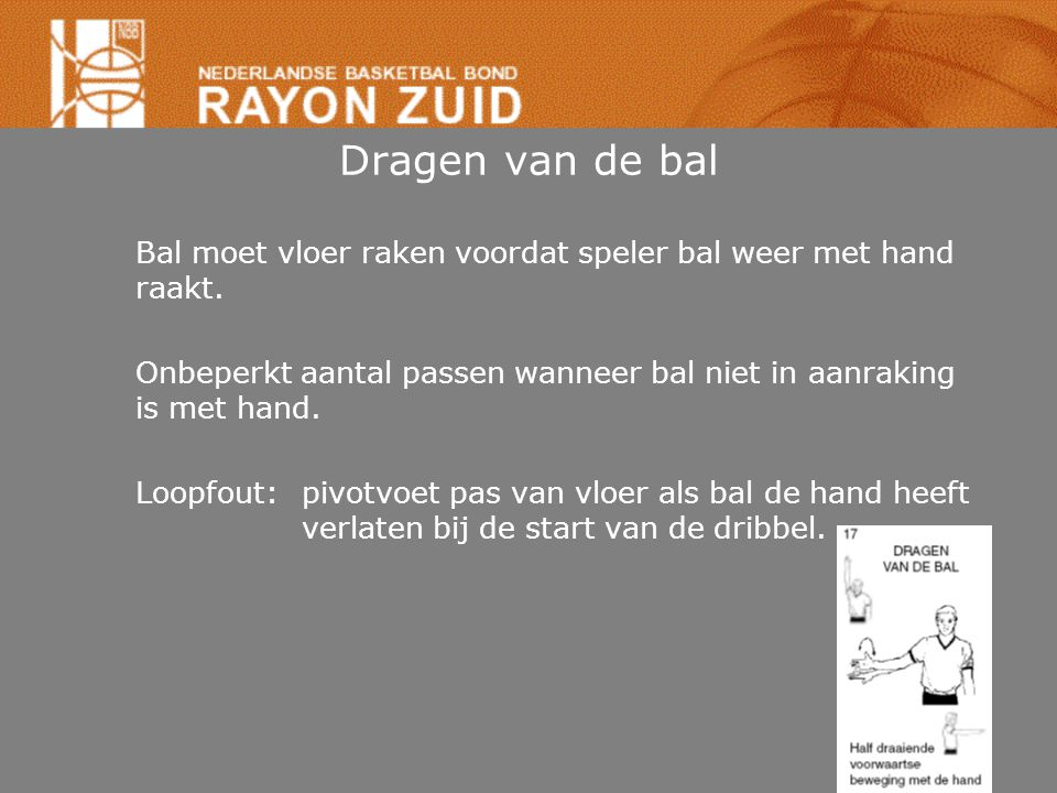 Dragen van de bal Bal moet vloer raken voordat speler bal weer met hand raakt. Onbeperkt aantal passen wanneer bal niet in aanraking is met hand.