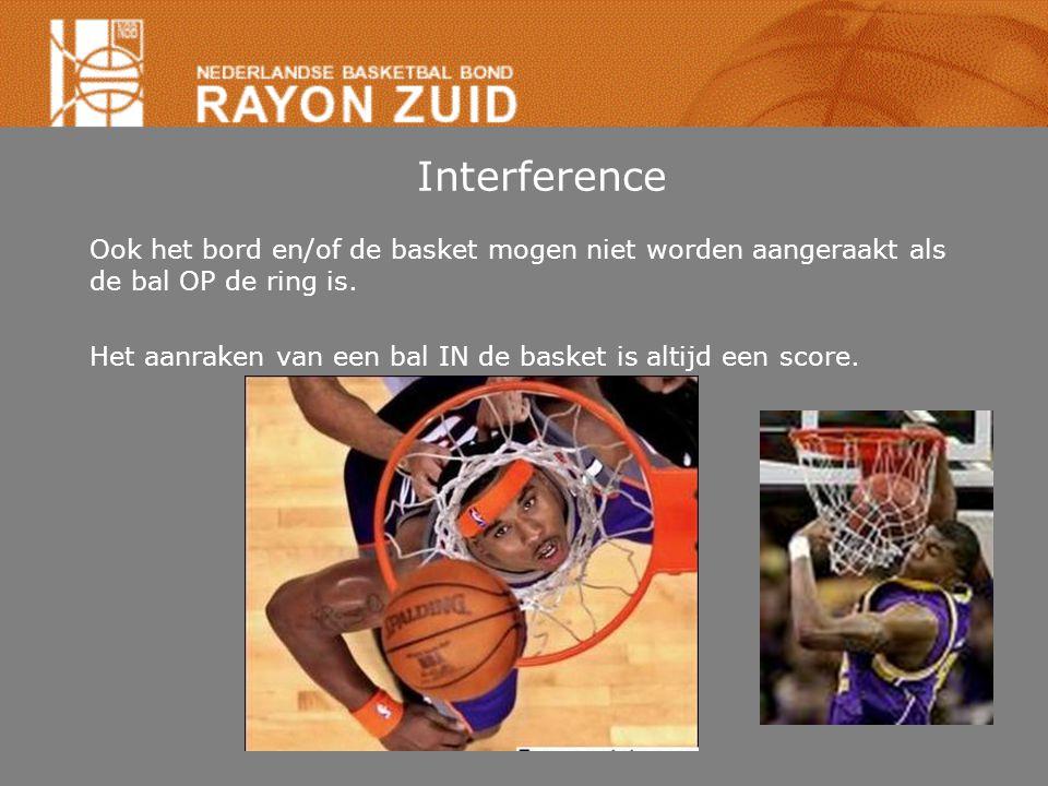 Interference Ook het bord en/of de basket mogen niet worden aangeraakt als de bal OP de ring is.