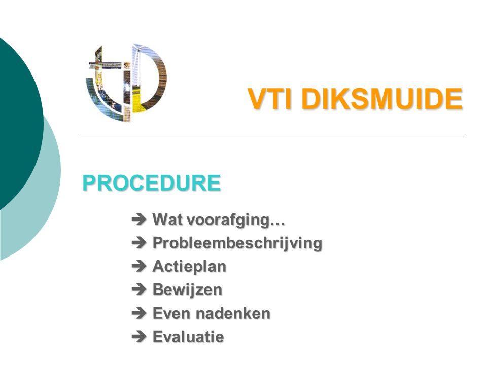 VTI DIKSMUIDE PROCEDURE  Wat voorafging…  Probleembeschrijving