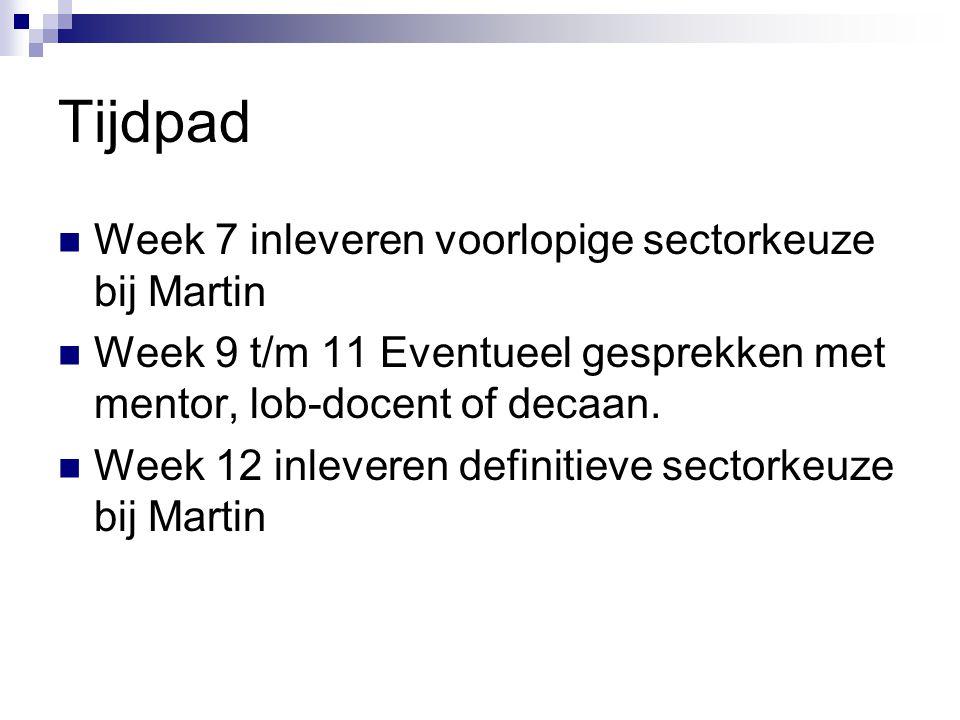 Tijdpad Week 7 inleveren voorlopige sectorkeuze bij Martin