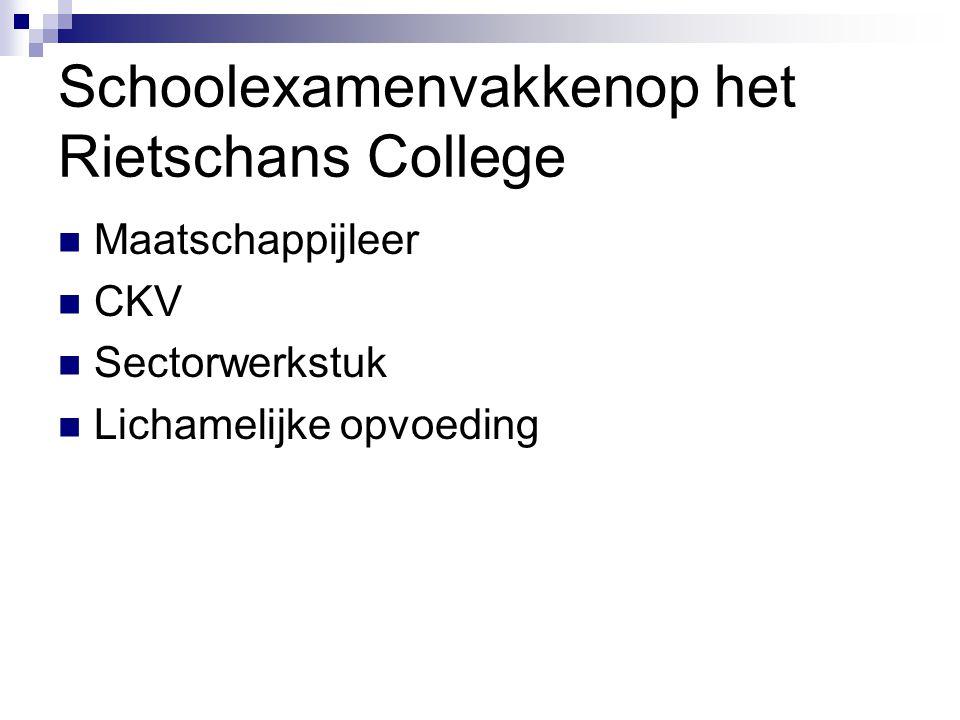 Schoolexamenvakkenop het Rietschans College