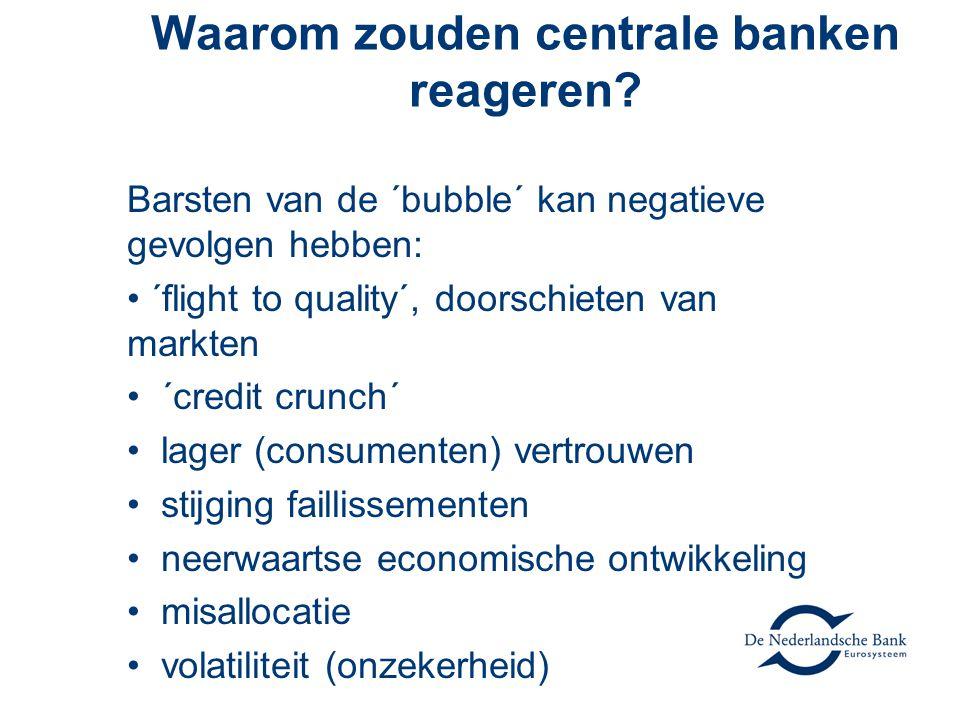 Waarom zouden centrale banken reageren