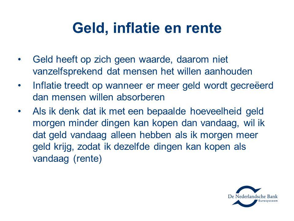 Geld, inflatie en rente Geld heeft op zich geen waarde, daarom niet vanzelfsprekend dat mensen het willen aanhouden.