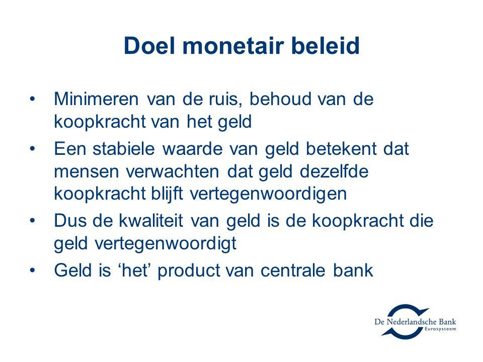 Doel monetair beleid Minimeren van de ruis, behoud van de koopkracht van het geld.
