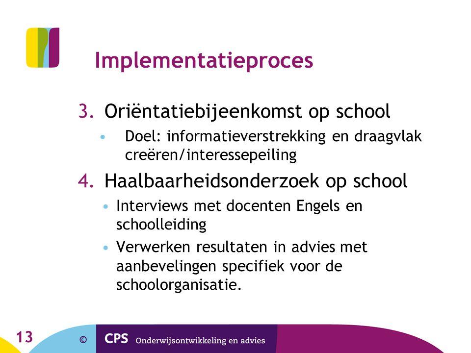 Implementatieproces Oriëntatiebijeenkomst op school