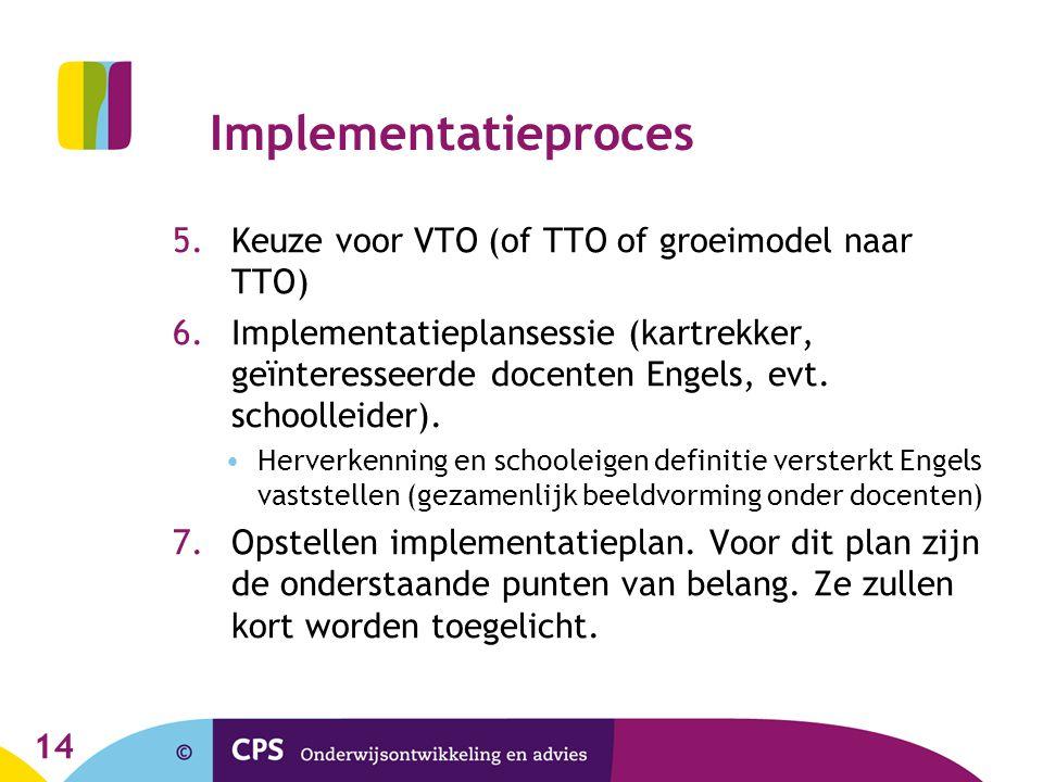 Implementatieproces Keuze voor VTO (of TTO of groeimodel naar TTO)
