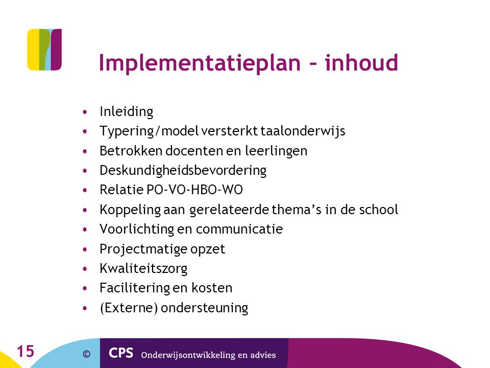 Implementatieplan – inhoud