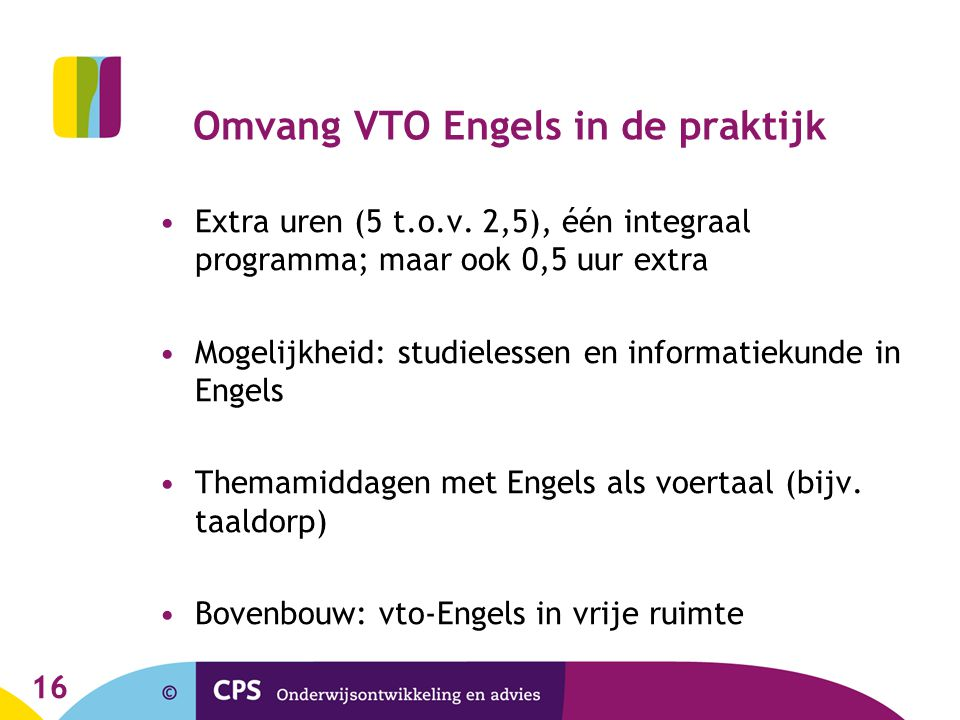 Omvang VTO Engels in de praktijk