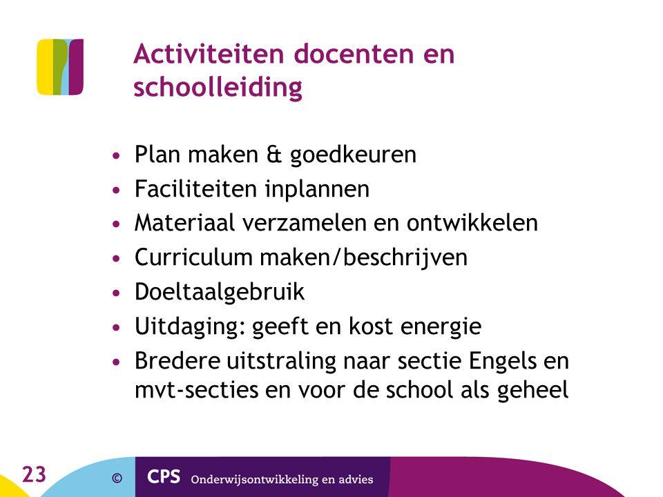 Activiteiten docenten en schoolleiding