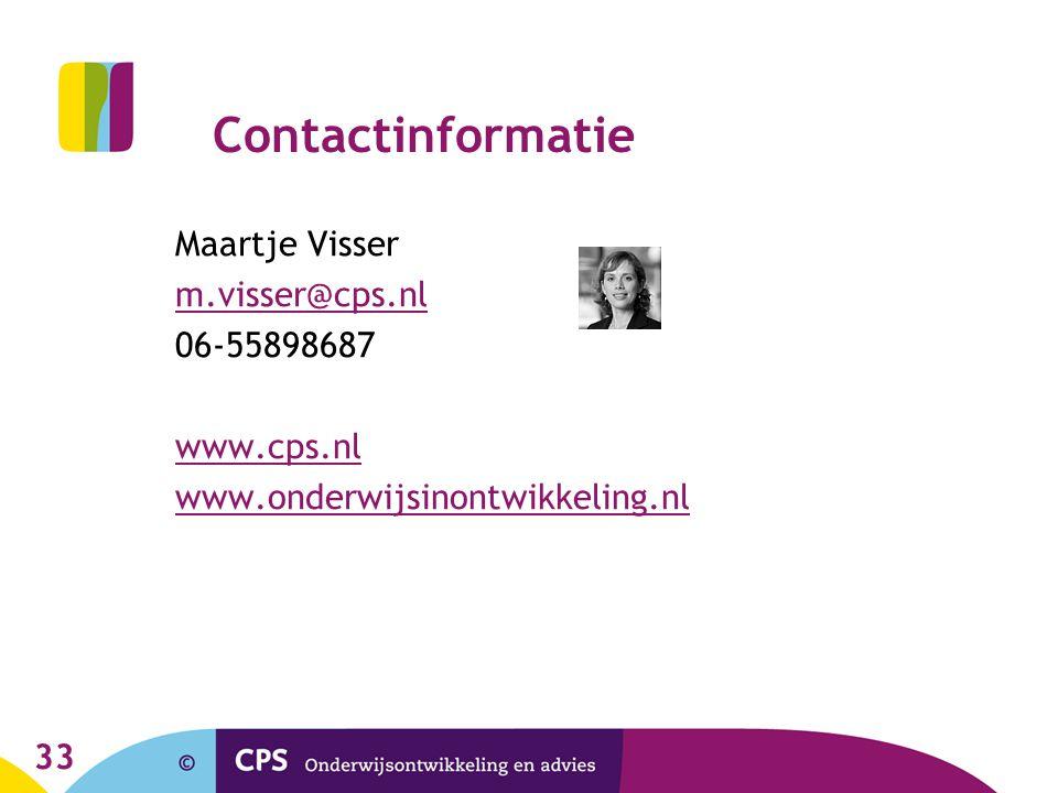 Contactinformatie Maartje Visser. m.visser@cps.nl.