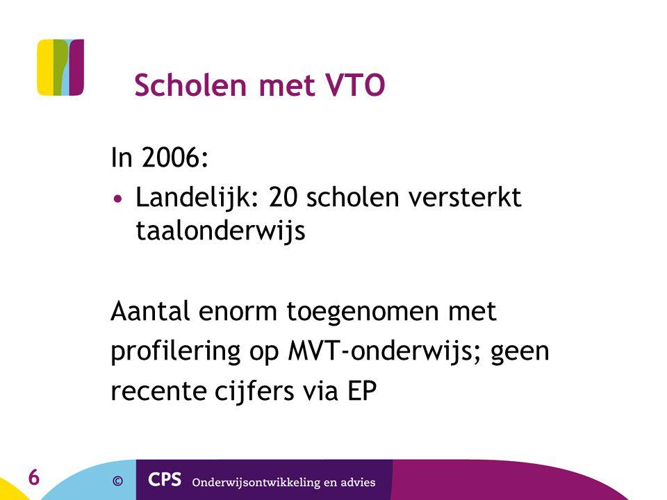 Scholen met VTO In 2006: Landelijk: 20 scholen versterkt taalonderwijs